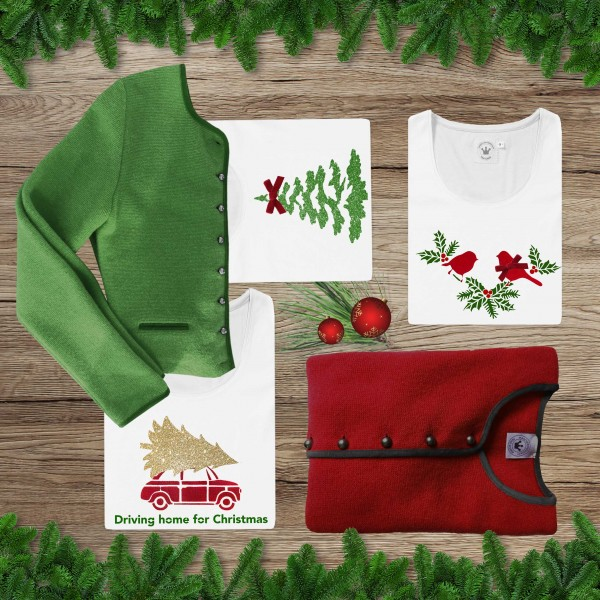 Damen T-Shirt Christmas Auto