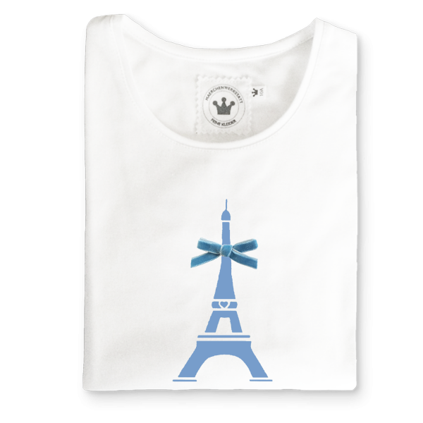 Kinder Shirt Paris mit Eiffelturm blau
